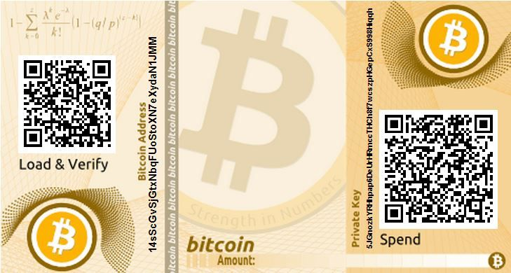 A paper printable Bitcoin wallet consisting of one bitcoin address for receiving and the corresponding private key for spending. Don't use this address!