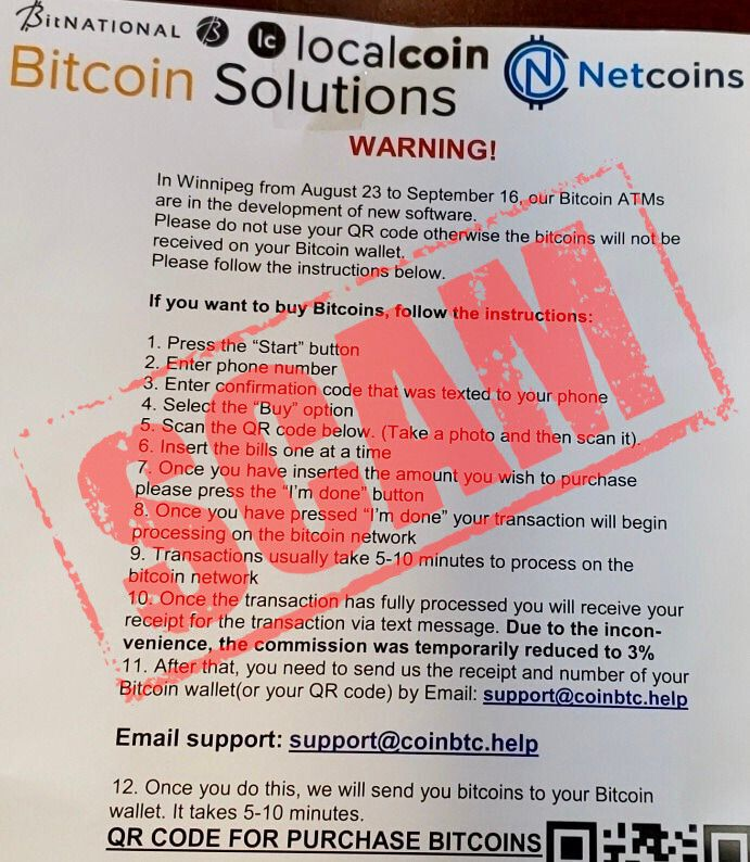 Bitcoin ATMs, like traditional ATMs, can be ripe for scamming. Follow your instincts and if something feels off, don't use it!