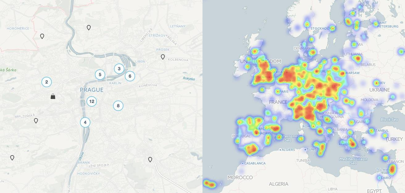 A Coinmap heatmap and map of venues in Prague.