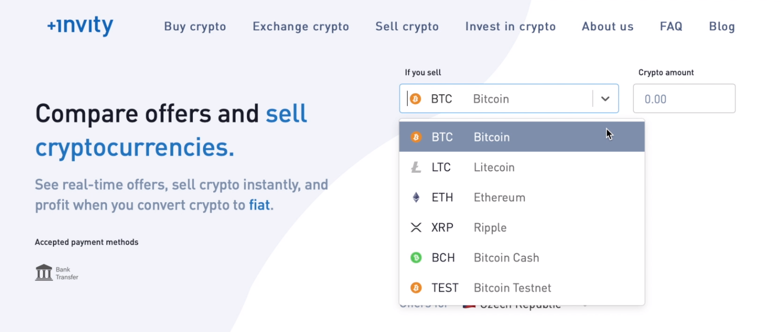 Just choose which coin you want to sell and how much. Alternatively, you can select how much cash you want to end up with.