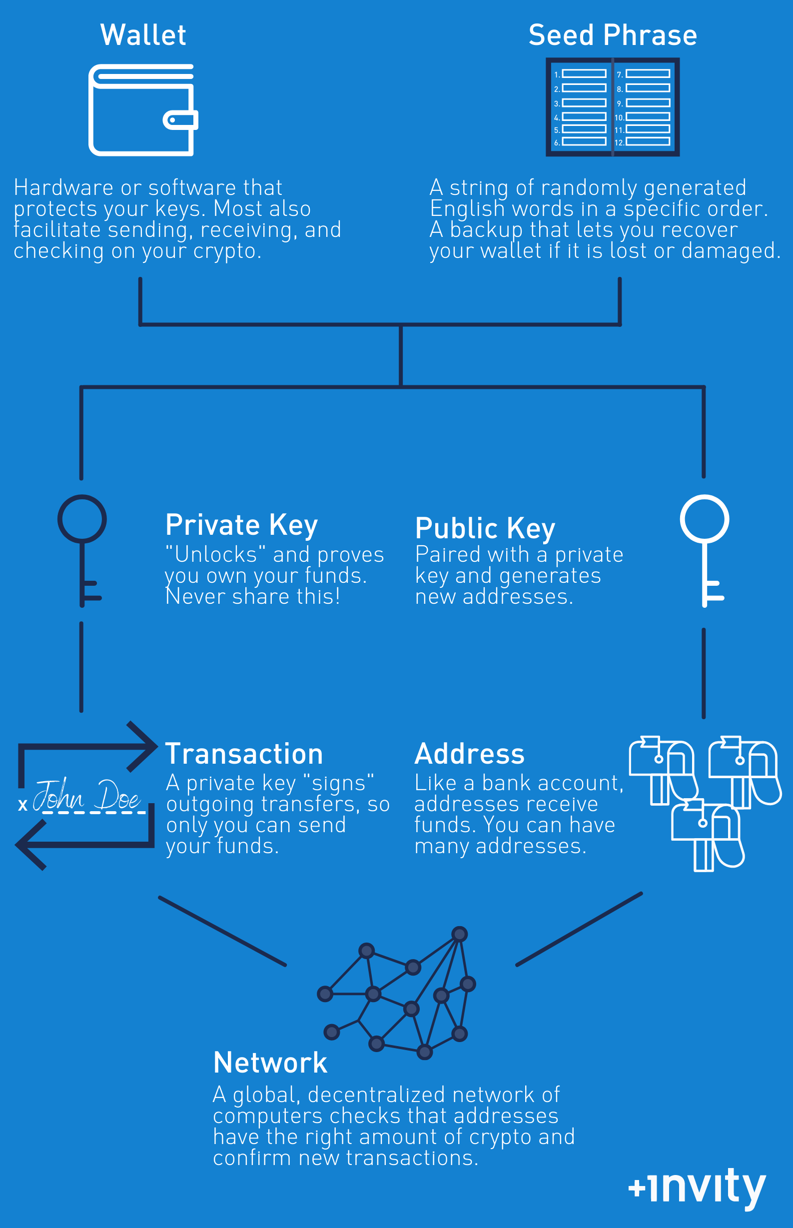 How Bitcoin wallets, seed phrases, private keys, and public keys are related.