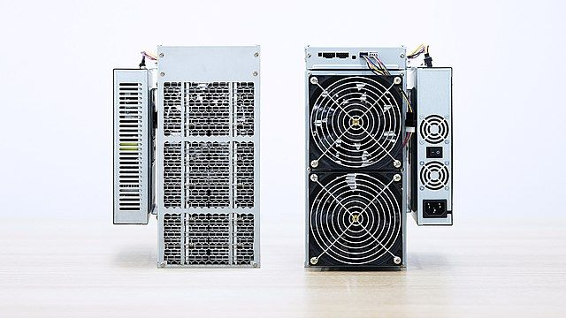 A specialized Bitcoin mining machines used to validate new transactions. By Canaan, licensed under CC BY-SA 4.0.
