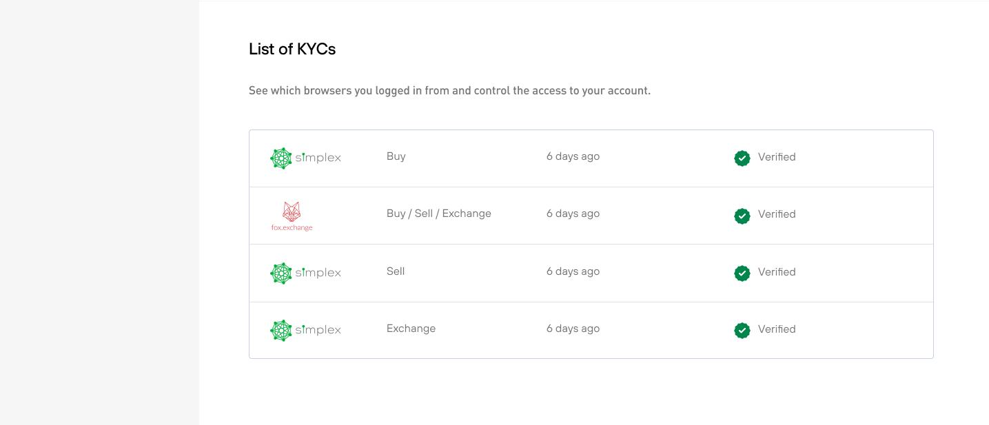 Invity accounts - list of KYCs