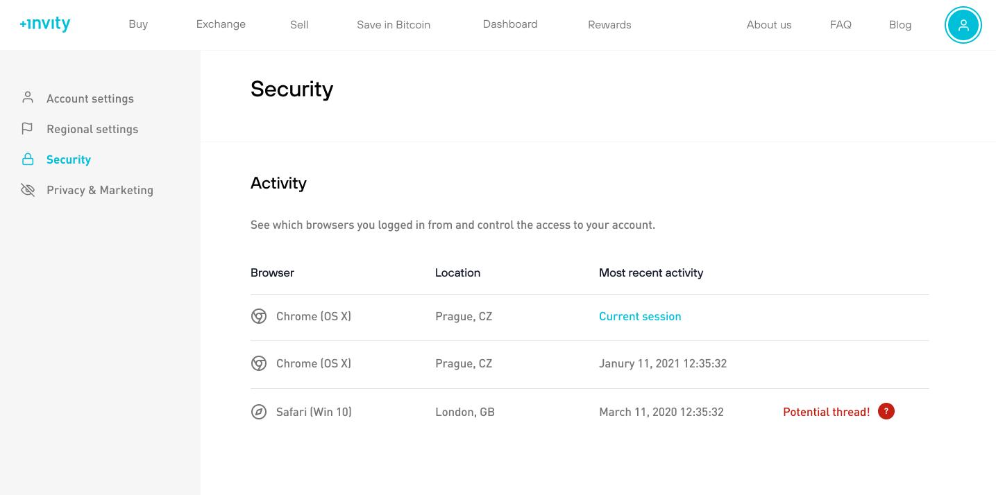 Invity accounts - security settings