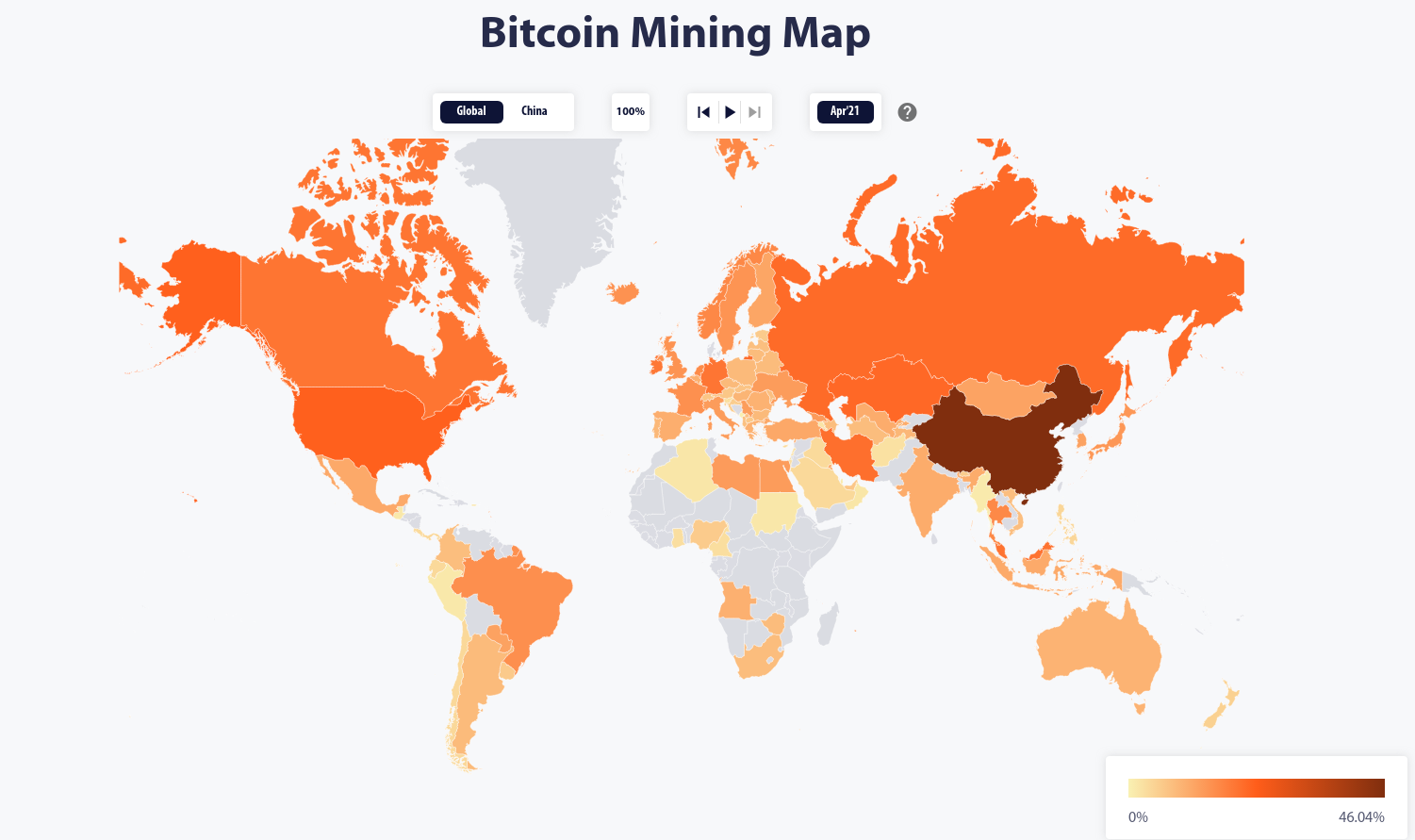 Before it's crackdown in the summer of 2021, China contributed a great deal of Bitcoin's mining power. Where the new power centers will be is still in flux. By the Cambridge Bitcoin Electricity Consumption Index.