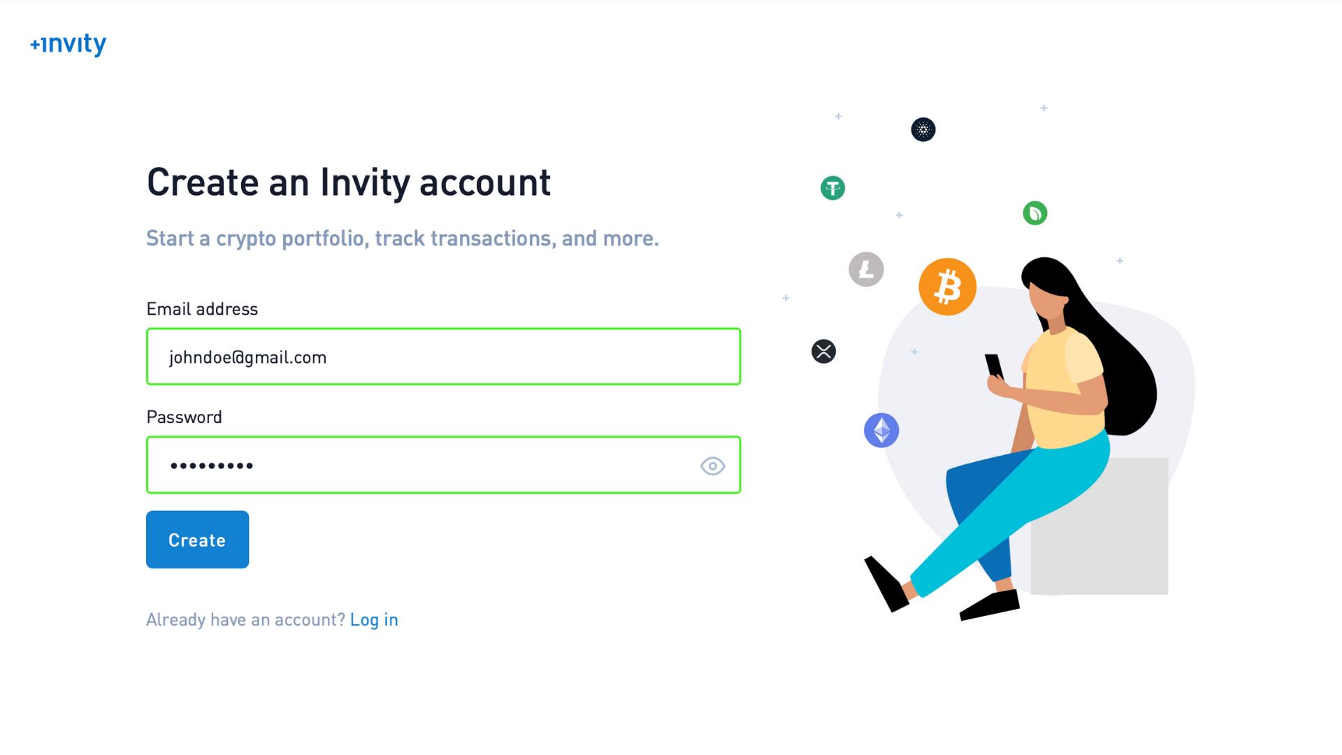 Create a free Invity crypto account