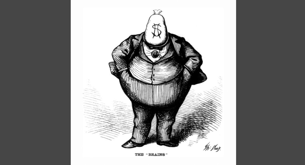 It may be humorous, but Mr. Moneybags isn't how money moves in the digital age. Thomas Nast via Politico.
